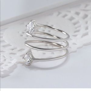 Jewelry - Sterling Silver Ring with 2 CZ